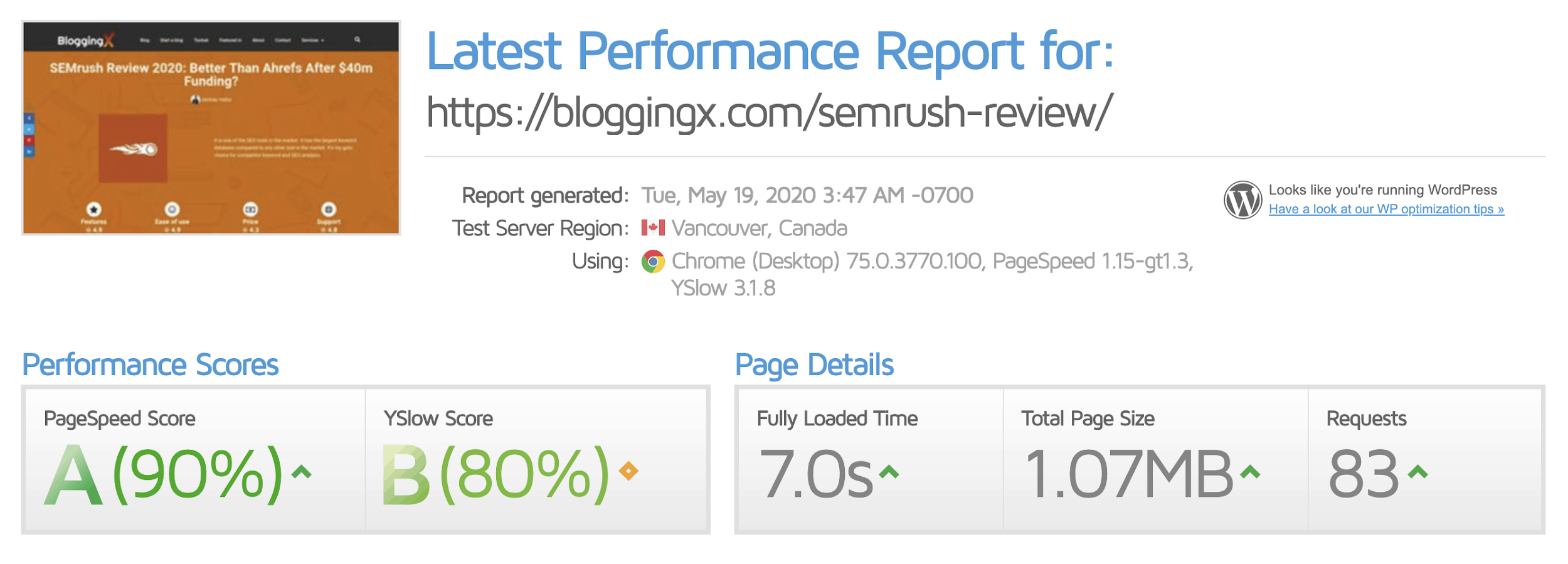 GTMetrix report of Bloggingx post of 5000words before installing NitroPack