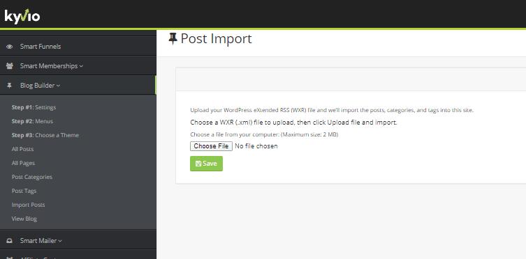 Kyvio's blog builder post import
