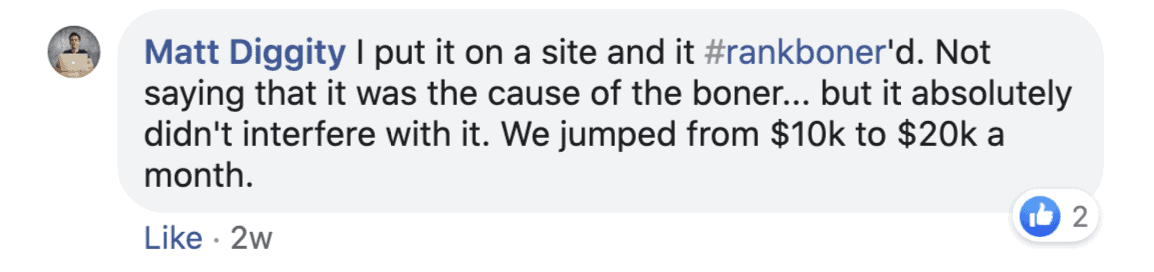 Matt Diggity fb comment