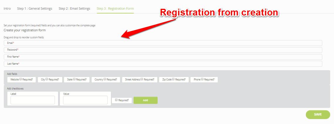 Membership registration form building