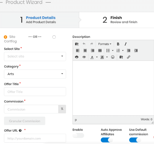 Product wizard