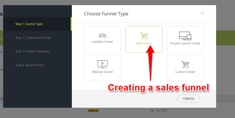 Selecting funnel