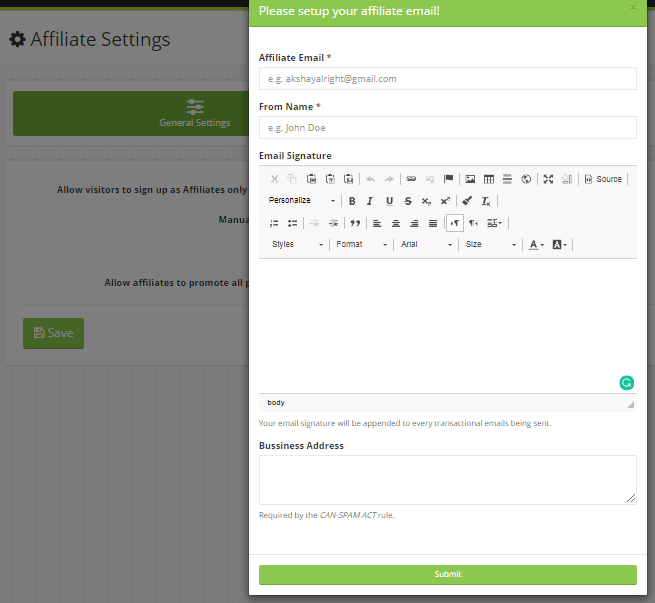Settingup emails etc, for Kyvio's affiliate platform