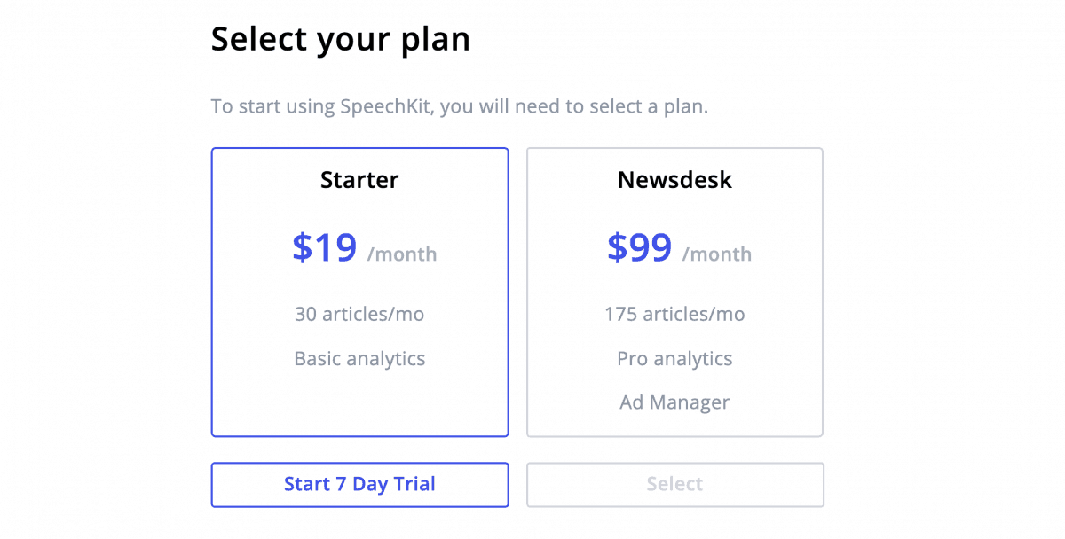 SpeechKit pricing plan