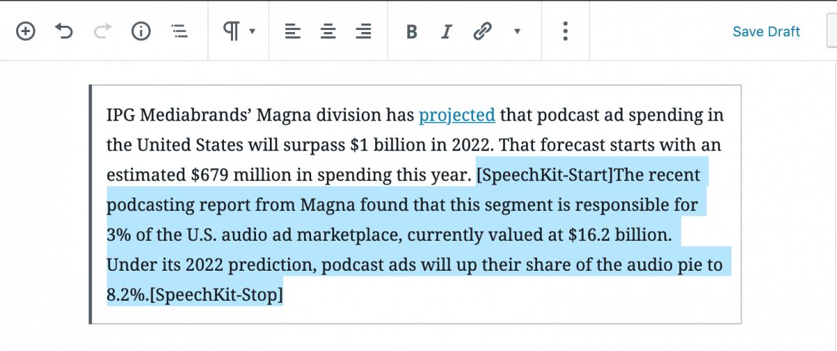 SpeechKit's wordpress audio shortcodes