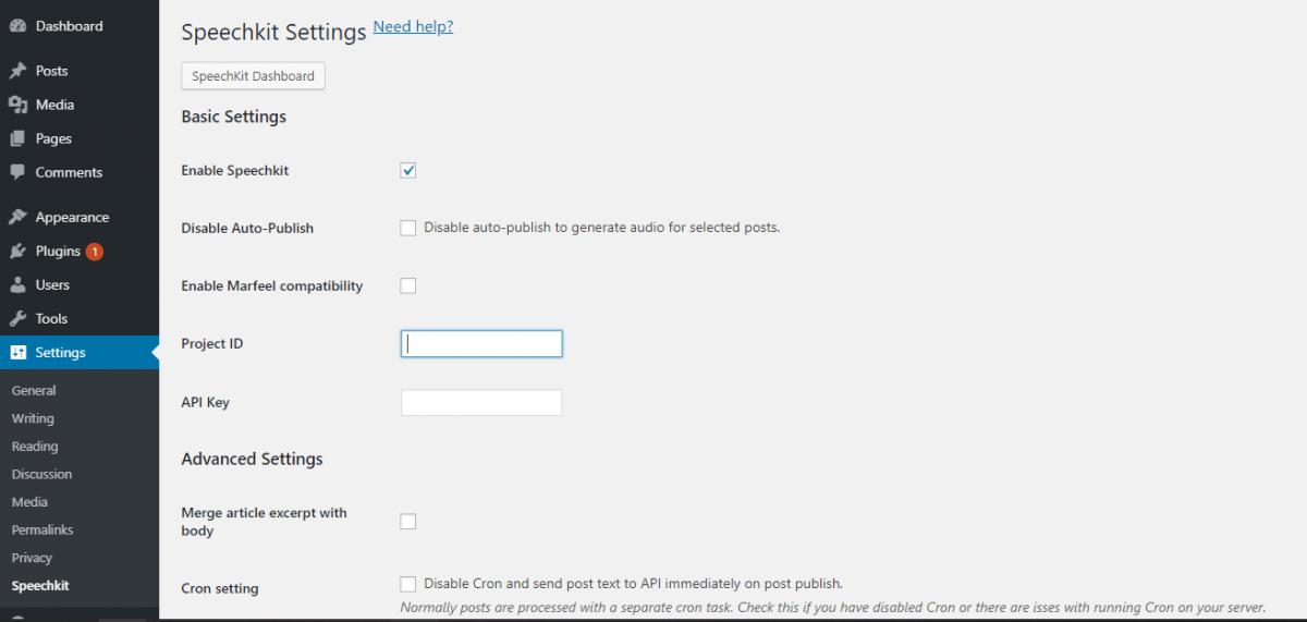 SpeechKit's wordpress plugin