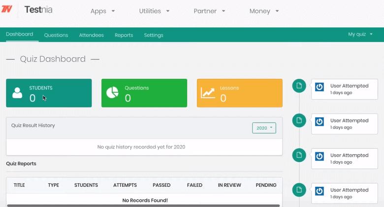 Testnia quiz dashboard