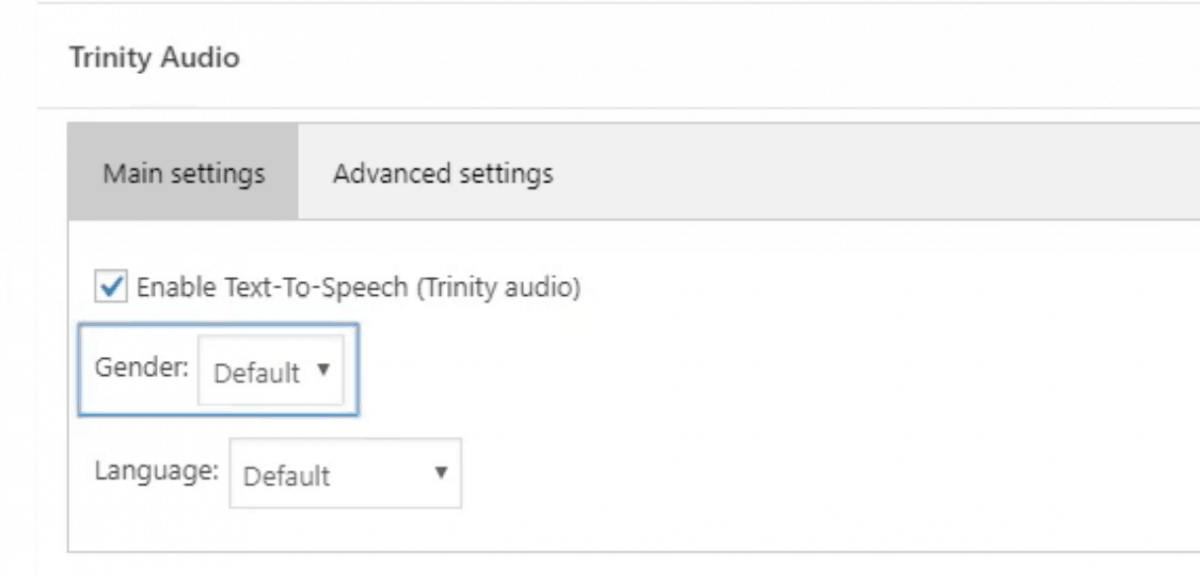 Trinity audio settings