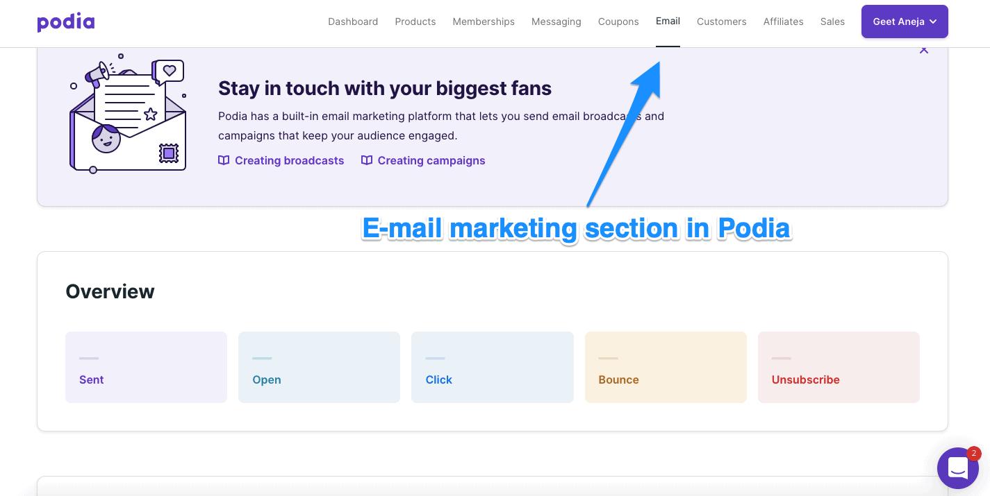 Email marketing in Podia