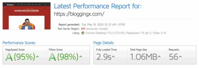 GTmetrix report of homepage before nitropack