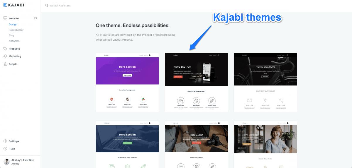 Kajabi page building using Kajabi themes
