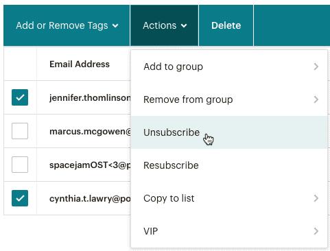 Mailchimp user action