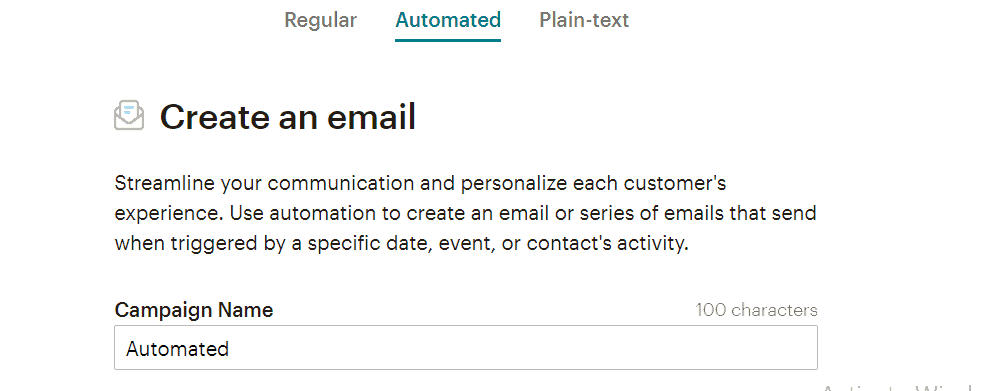 Moosend creating an email