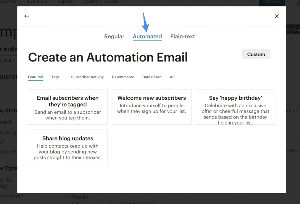 Moosend creating automated Email