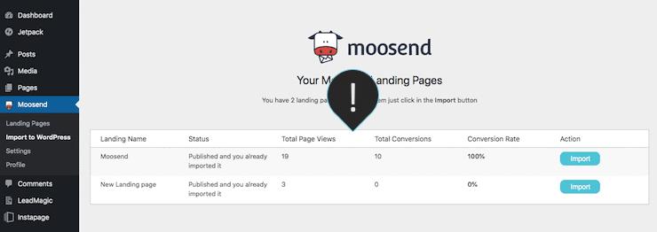Moosend creating landing page