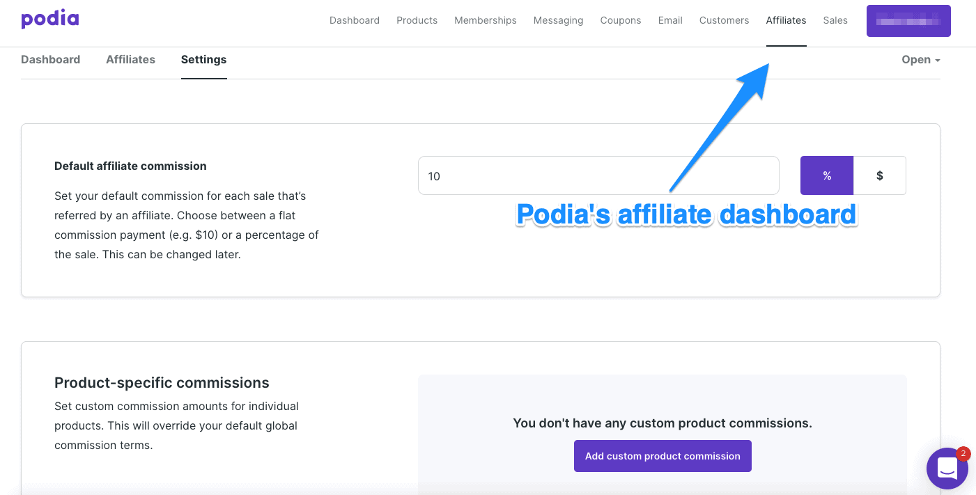 Podia affiliate dashboard