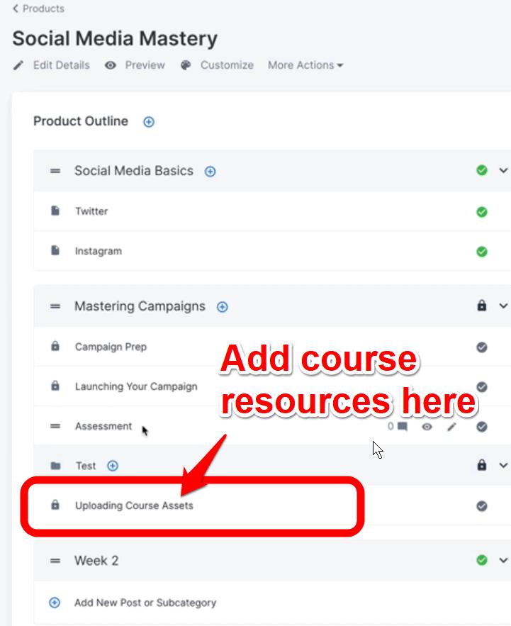 Adding Course Resources in Kajabi