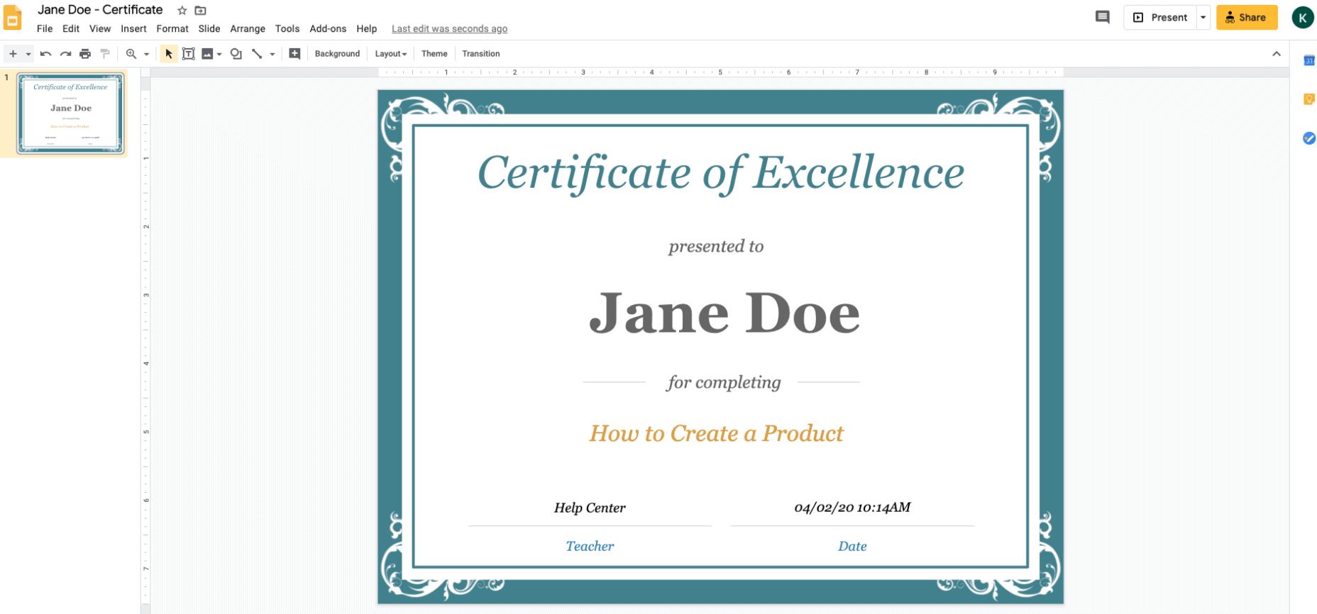 Use Google Slides to create Kajabi certificate of completion