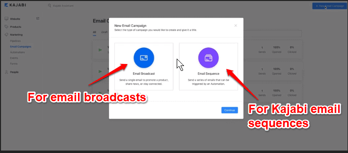 How to create Kajabi email sequences and broadcasts
