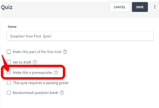 How to create Prerequisite Quizzes with Thinkific