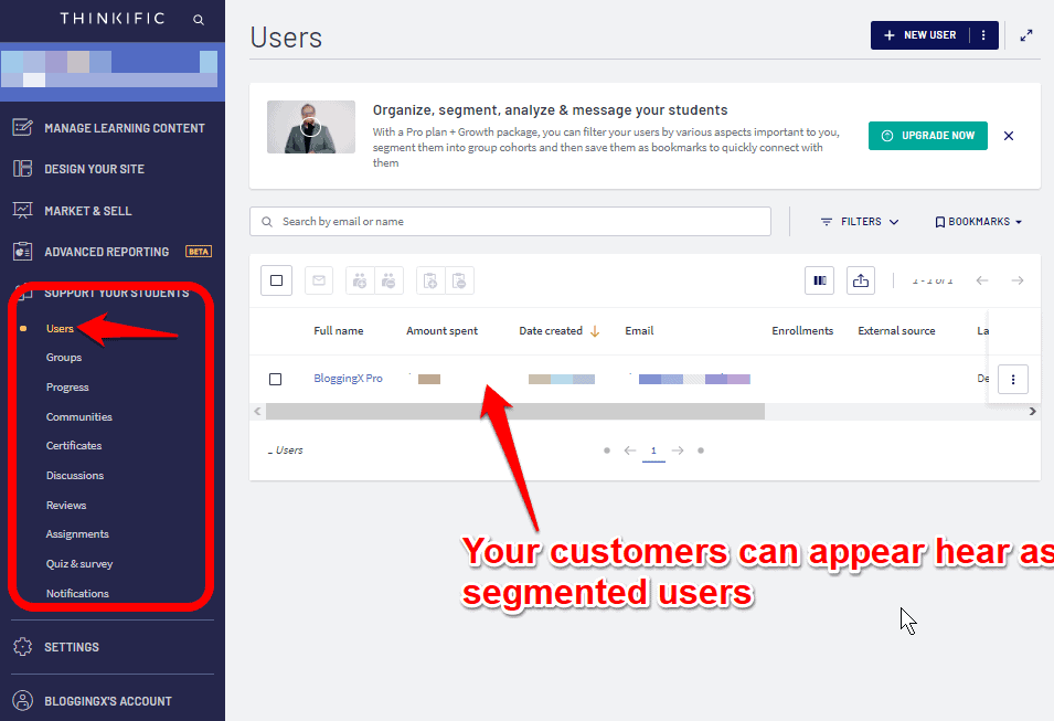 Segmenting users with Thinkific