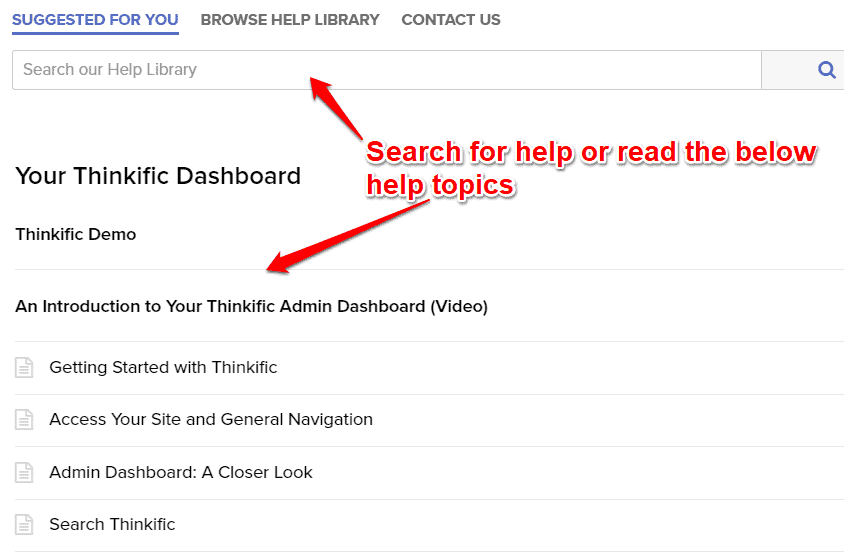 search for help in Thinkific