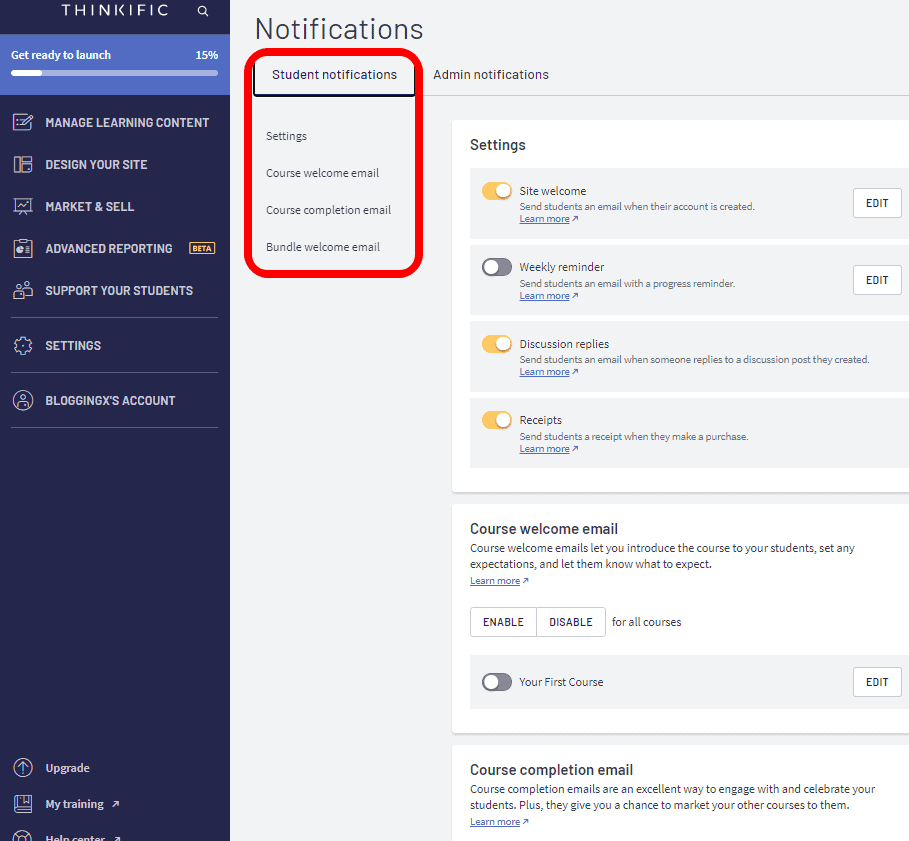 Thinkific notifications email settings
