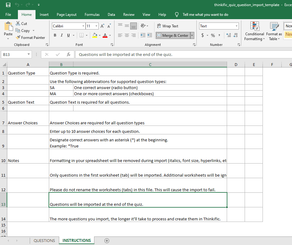 How the Thinkific quiz questions import template looks like