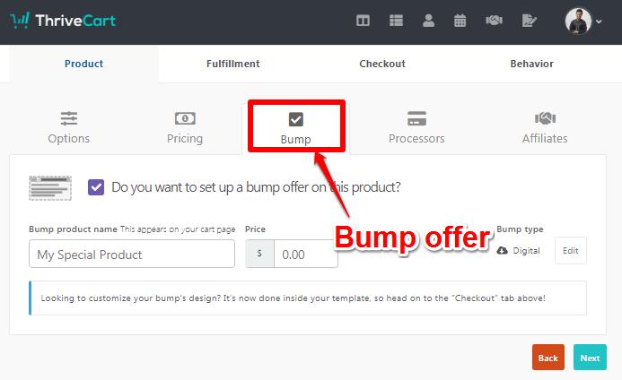 ThriveCart bump offer