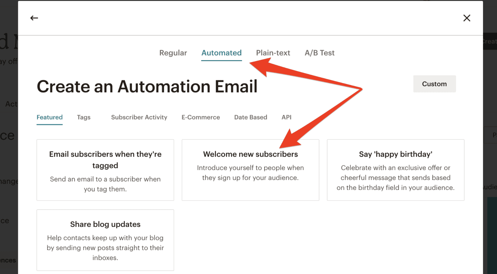 MailChimp welcome emails