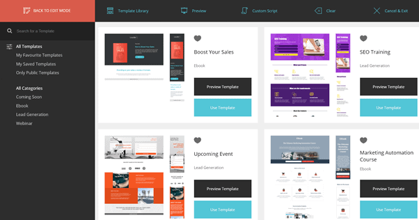 Moosend landing pages