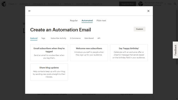 MailChimp automation emails
