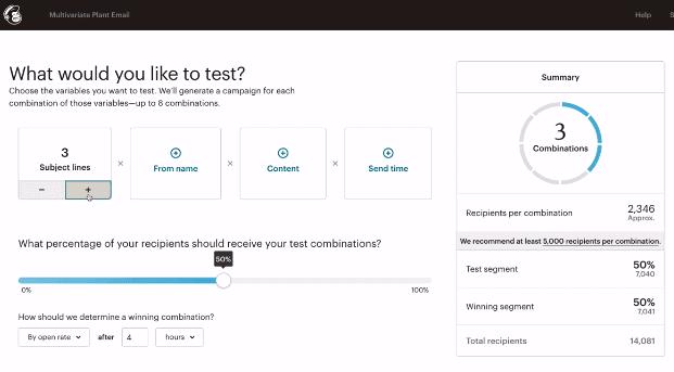 MailChimp split testing