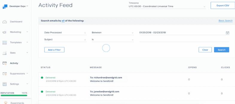 SendGrid dashboard