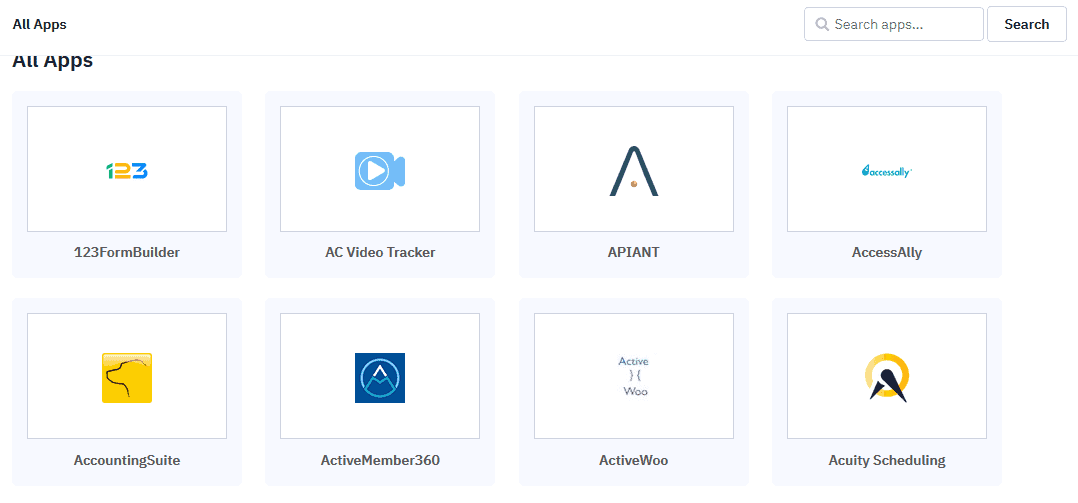3rd party integrations of ActiveCampaign