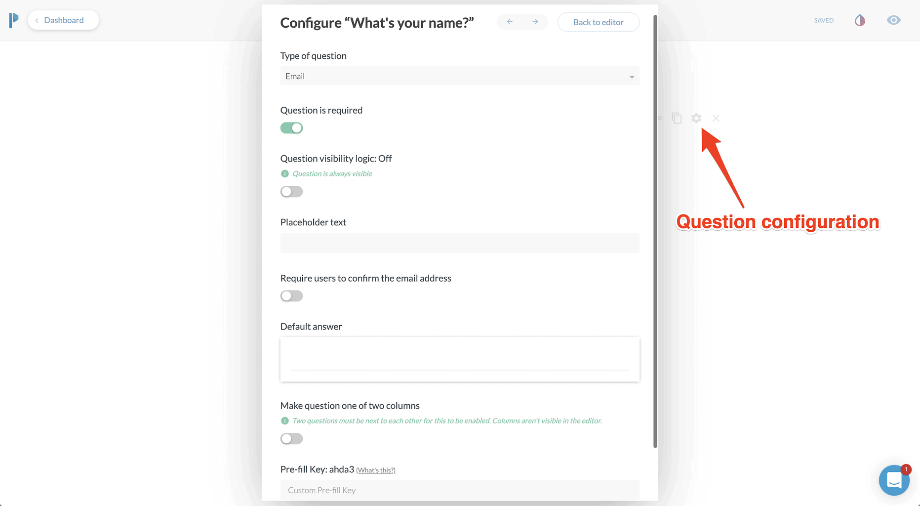 Configuring  questions