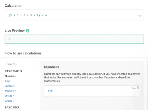 Paperform calculations feature