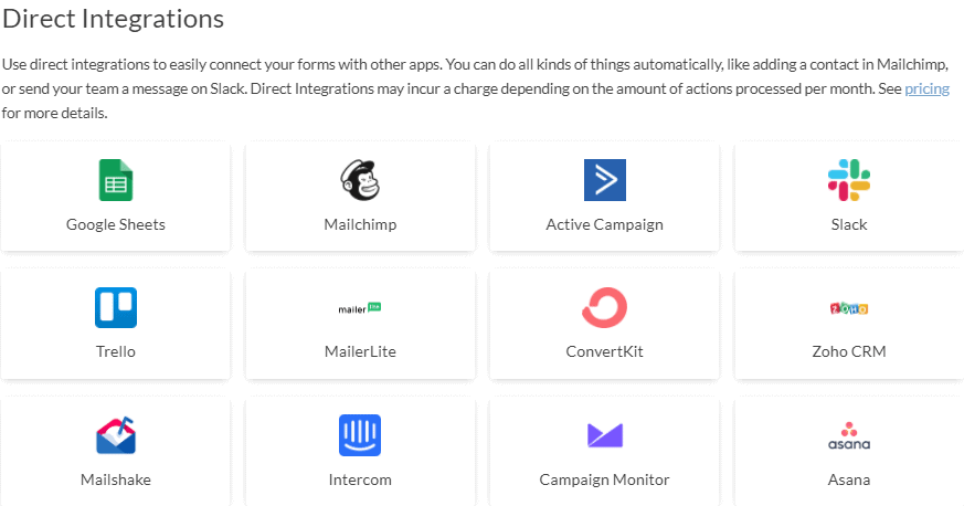 Paperform direct integrations