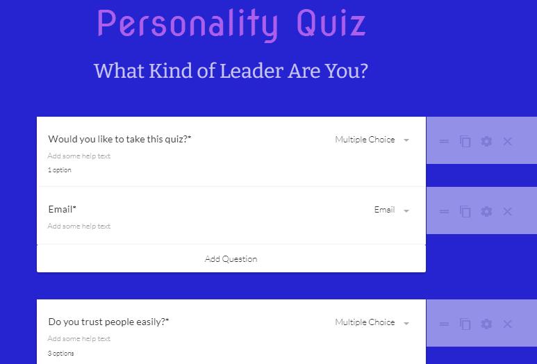 Quiz Paperform template