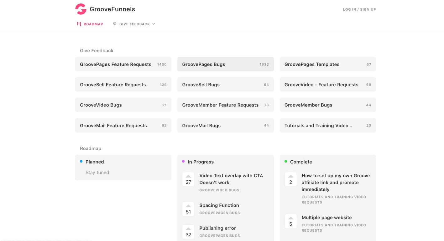 GrooveFunnels roadmap