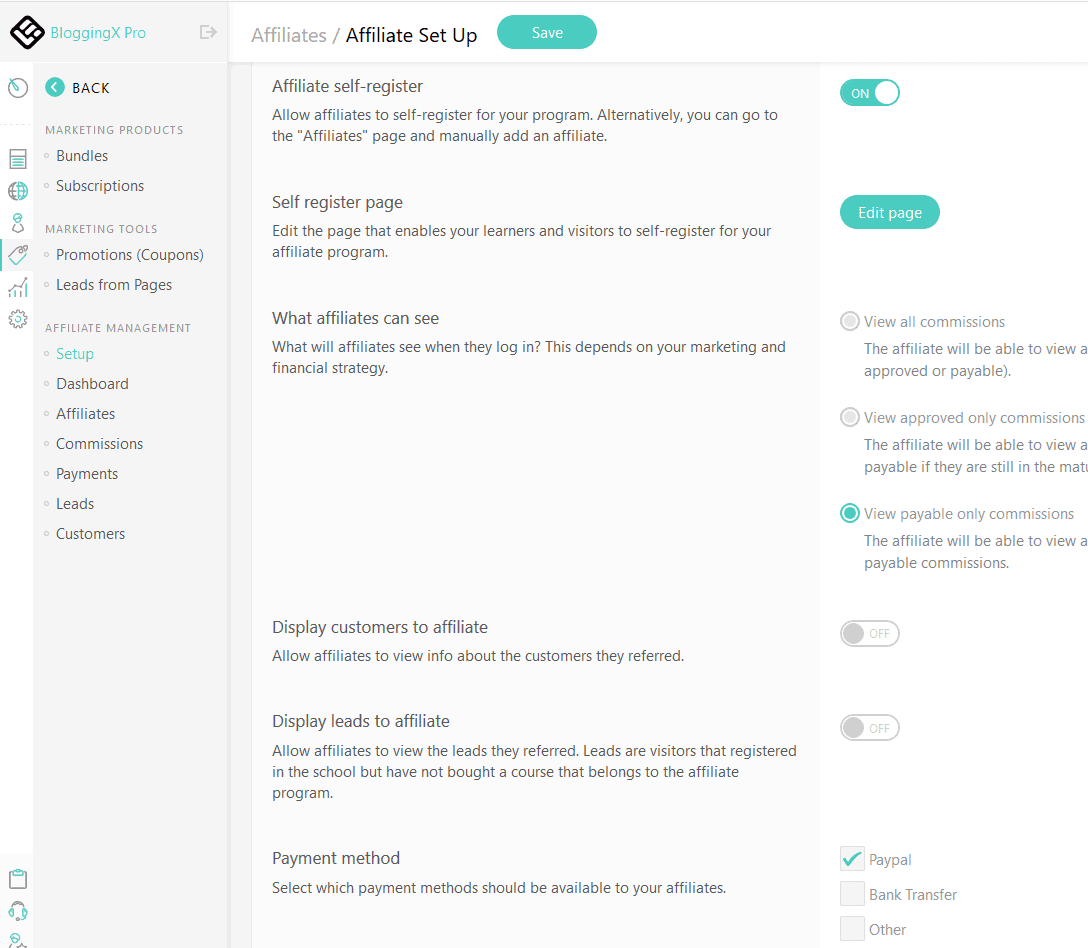 LearnWorlds affiliate set up
