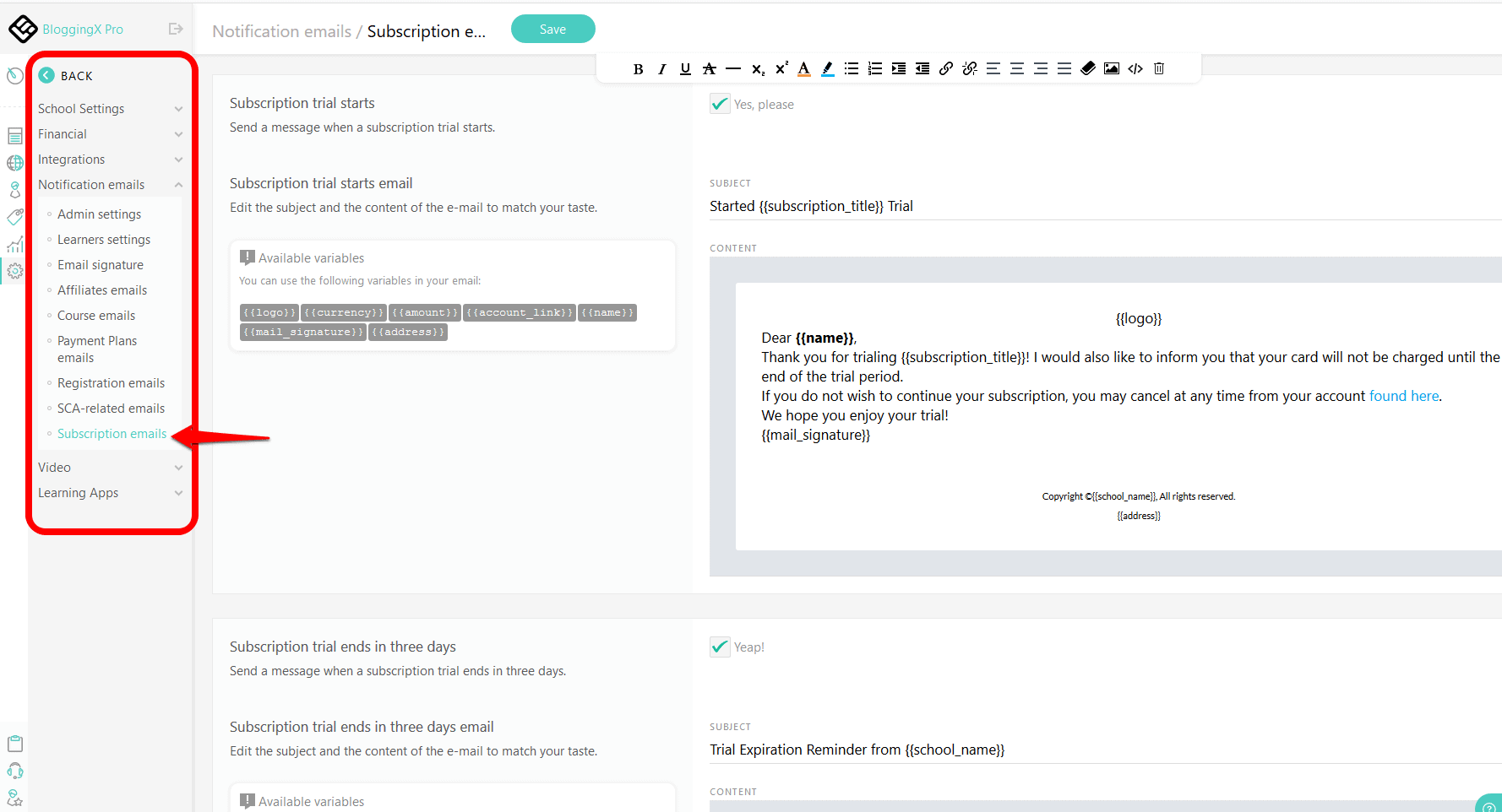 LearnWorlds emails