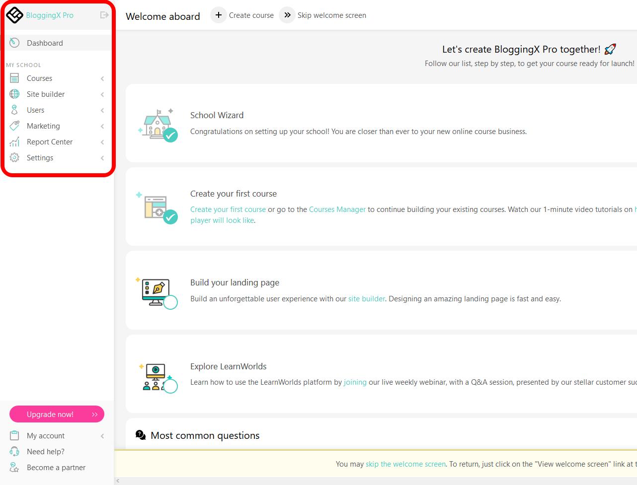 LearnWorlds interface