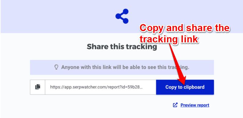 SERPWatcher link tracking
