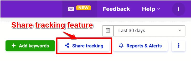 SERPWatcher - Mangools share tracking feature