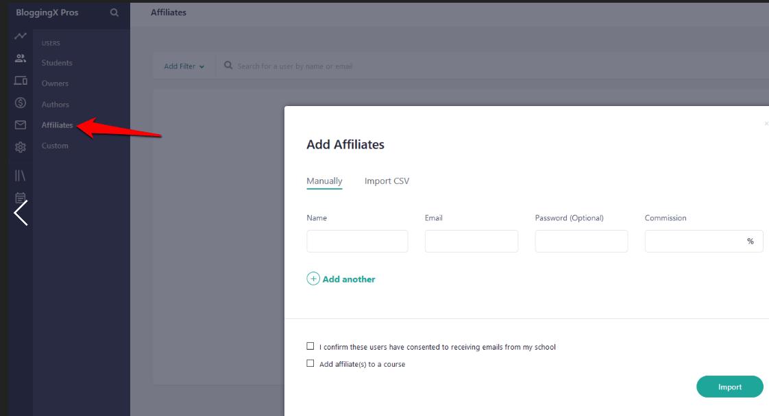 Teachable adding affiliates