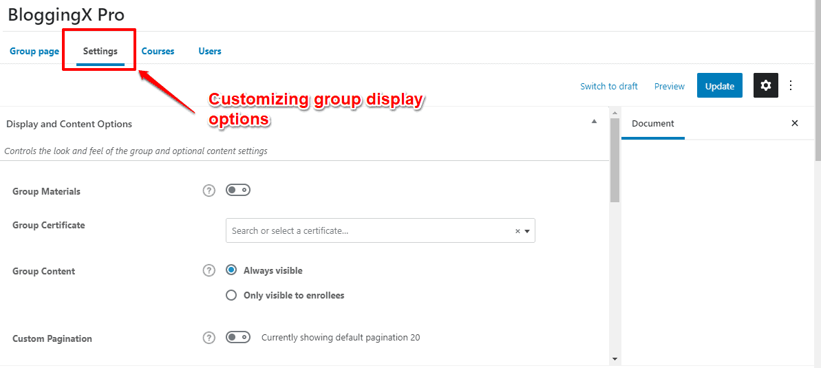 Customizing groups