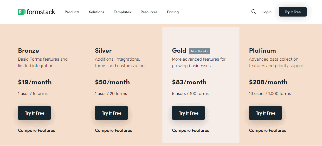 Formstack pricing