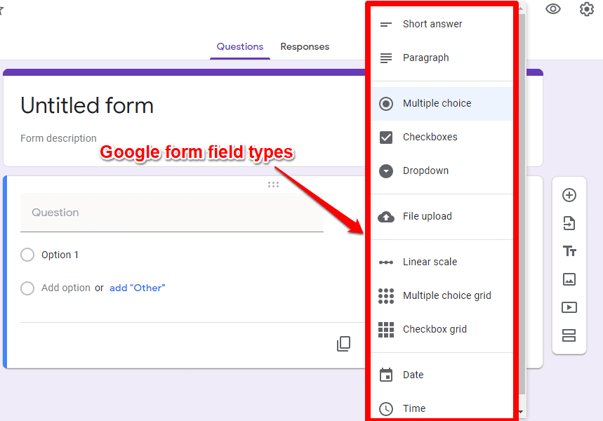 Google forms field types