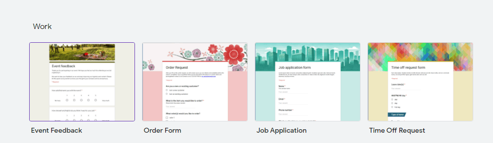 Google forms form types
